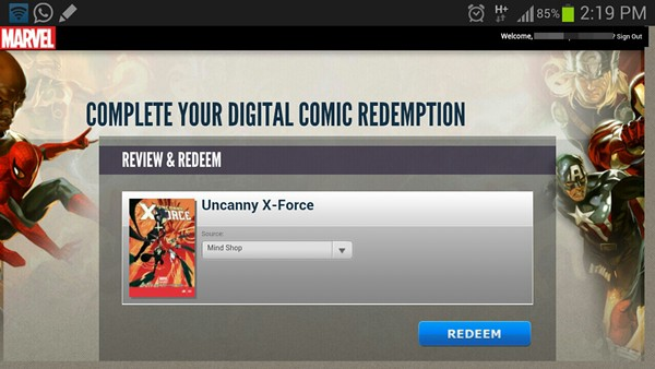 redeem marvel digital comic code