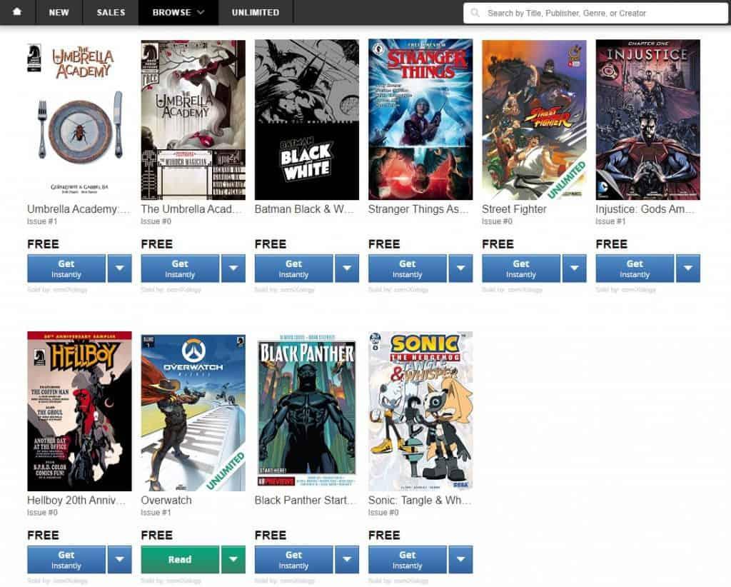 free comics from comixology