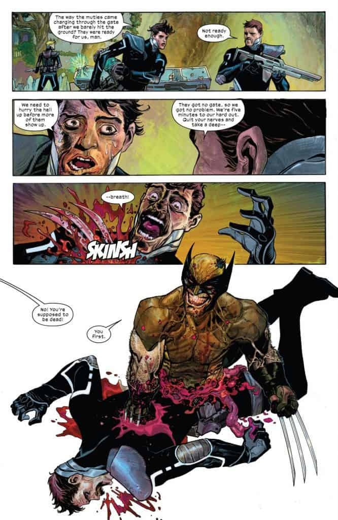 x-force #5 wolverine with a big grin on his first kill